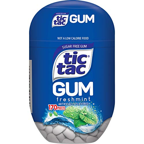0009800301409 - TIC TAC GUM, SUGAR FREE CHEWING GUM, FRESHMINT, 4 COUNT BOTTLE PACKS