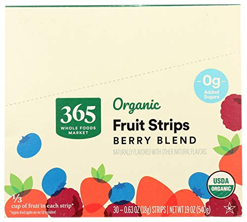 0099482496296 - 365 BY WHOLE FOODS MARKET, ORGANIC FRUIT STRIPS, BERRY BLEND (30 - 0.63 OUNCE STRIPS), 19 OUNCE