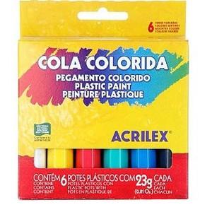 7891153026060 - ACRILEX COLA COLORIDA ARTÍSTICA 6 UNIDADES