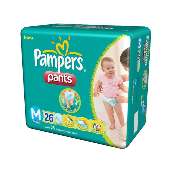7506309882505 - PAMPERS PANTS M DESCARTÁVEL 26 UNIDADES