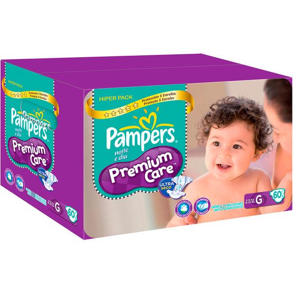 7506295337522 - FRALDA DESCARTÁVEL INFANTIL PAMPERS PREMIUM CARE G CAIXA 60 UNIDADES