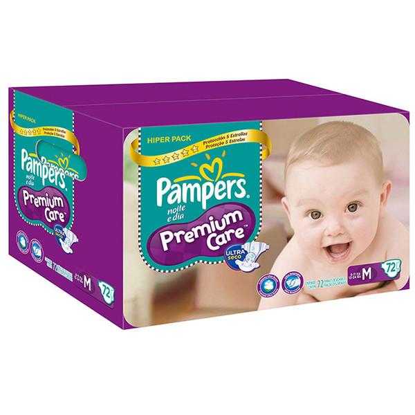 7506295337508 - FRALDA DESCARTÁVEL INFANTIL PAMPERS PREMIUM CARE M CAIXA 72 UNIDADES