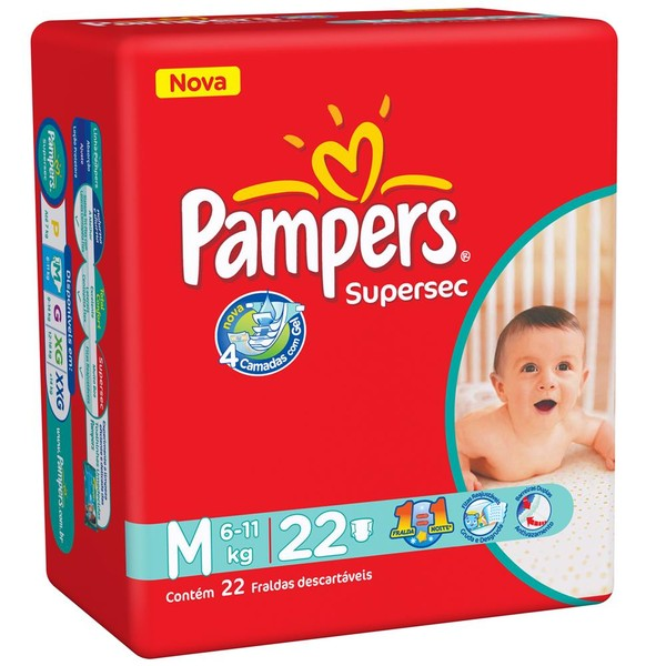 7506195196465 - PAMPERS SUPERSEC M 22 UNIDADES